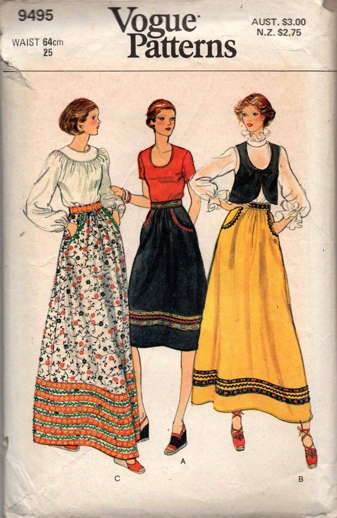 fad56e83eec35 Vogue 9495 Womens Skirts with Pockets 70s Vintage Sewing Pattern Size 10  Waist 25 Inches