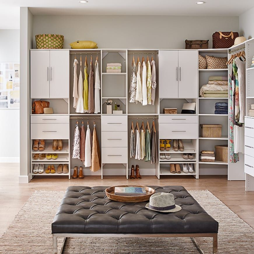 Closetmaid Style 25 In W White Corner Wood Closet Tower 1711 The Home Depot In 2021 Closet Renovation No Closet Solutions Bedroom Closet Design