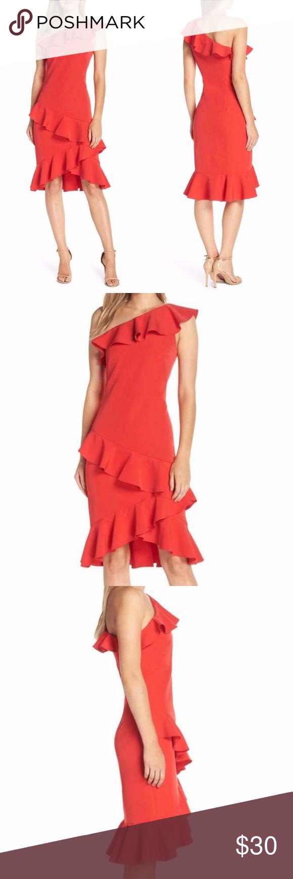 New Vince Camuto Red One Shoulder Frill Wrap Dress Wrap Dress Little Dresses Dresses [ 1740 x 580 Pixel ]