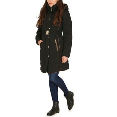 David Barry Black faux down quilted jacket | Debenhams