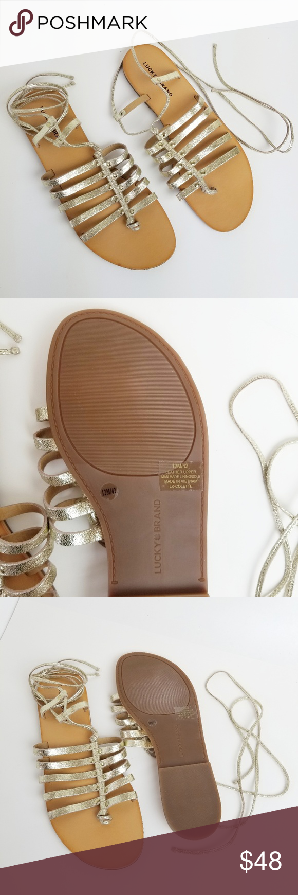 6ab978e50028 Lucky Brand LK-Colette gladiator gold sandals 12 Gold gladiator sandal in  size 12M Leather