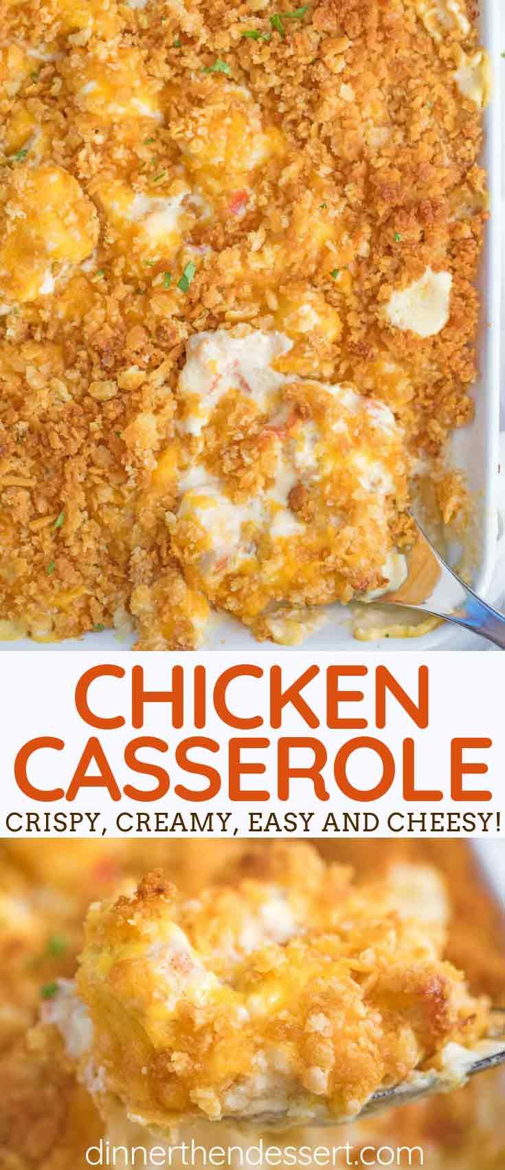 Easy Chicken Casserole is creamy and savory, made with chicken, onion, and bell peppers in a seasoned sauce and topped with Ritz crackers and cheddar cheese, perfectly cooked in 45 minutes! #creamychickencasserole