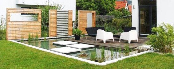 designgarten mit wasserbecken und wasserwand in jena / ausführung,