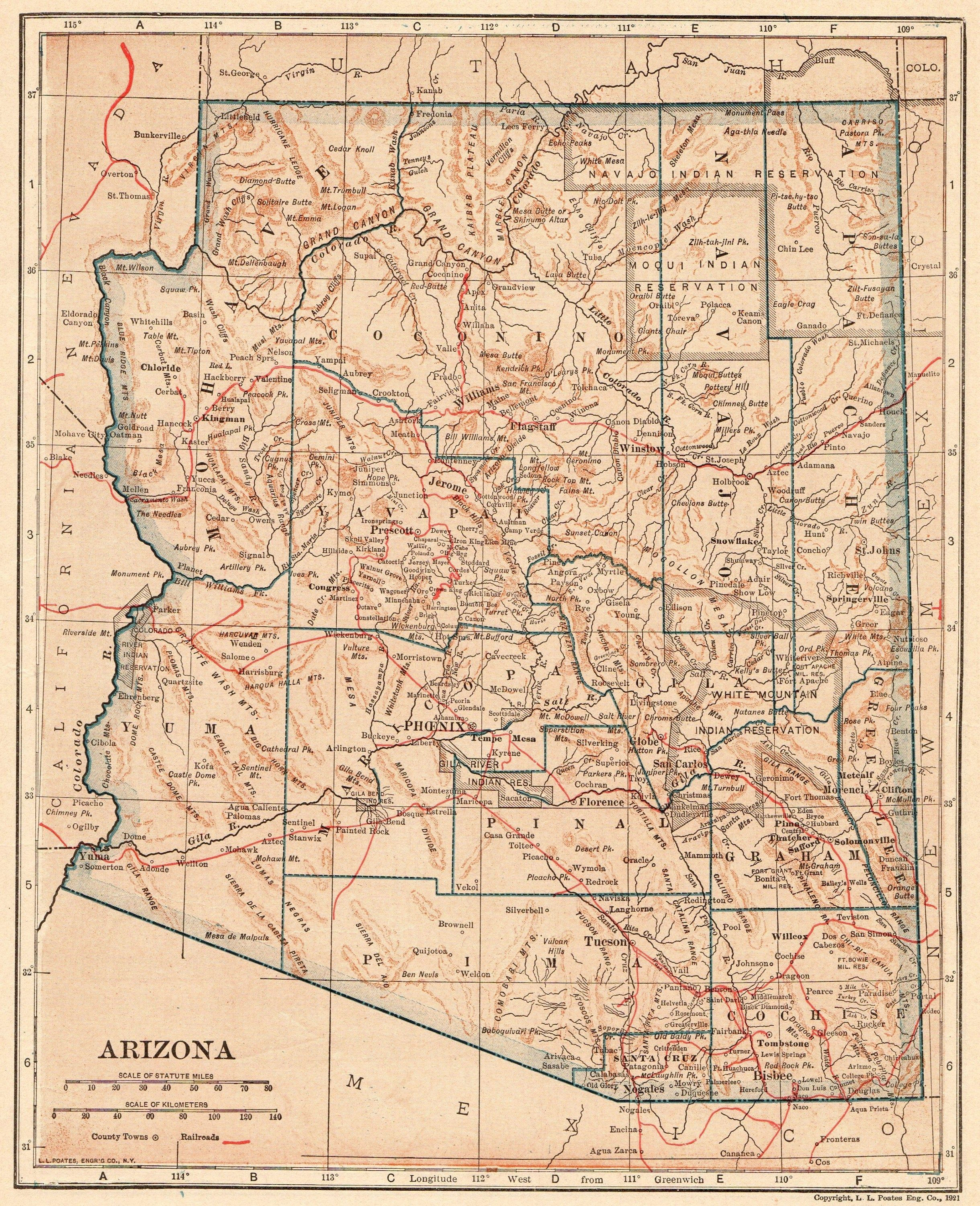 1921 Antique Arizona Map Vintage State Map Of Arizona Gallery Wall Art Library Decor Teacher Gift For Anniversar Arizona Map Art Gallery Wall Arizona State Map
