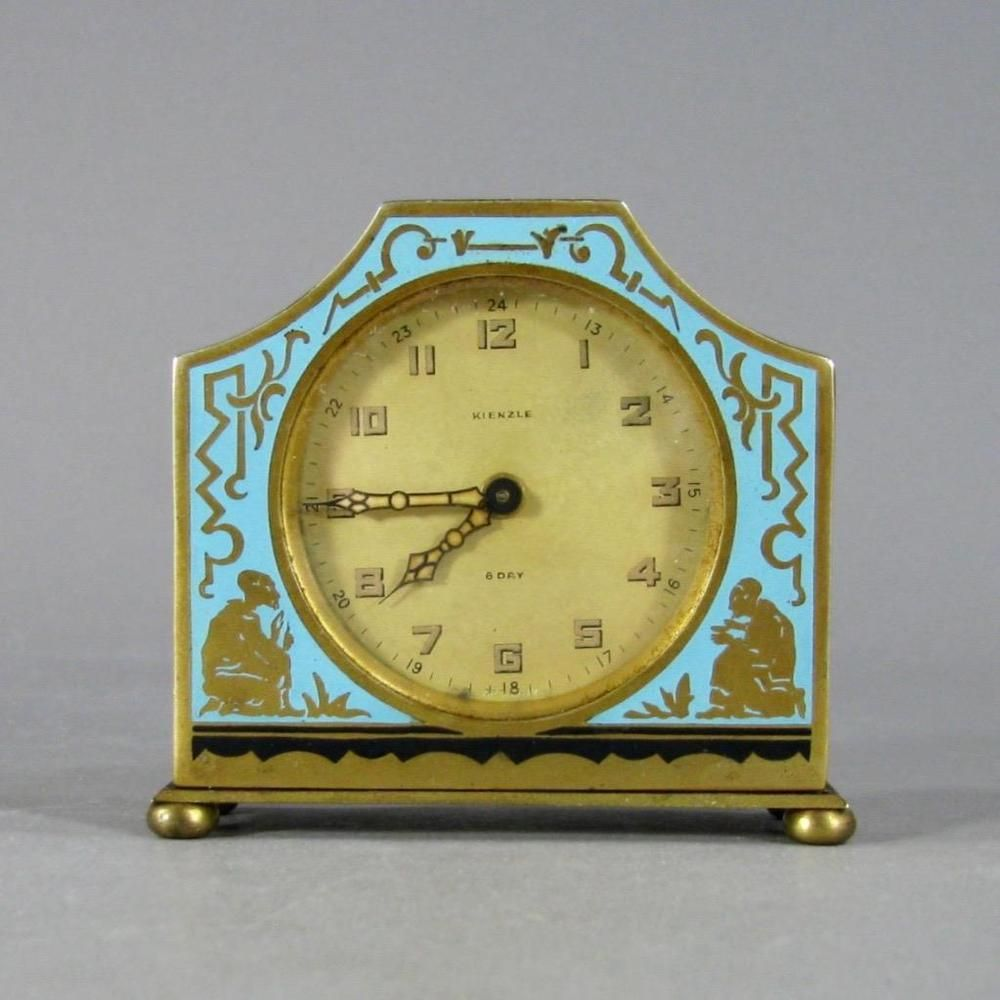 Antique KIENZLE Enamel and Gilt Brass Art Deco Desk Clock, Germany c ...