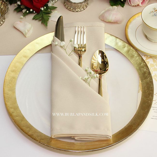 20 Inch Matte Champagne Napkins 12 Pack For Weddingwedding Linenswedding