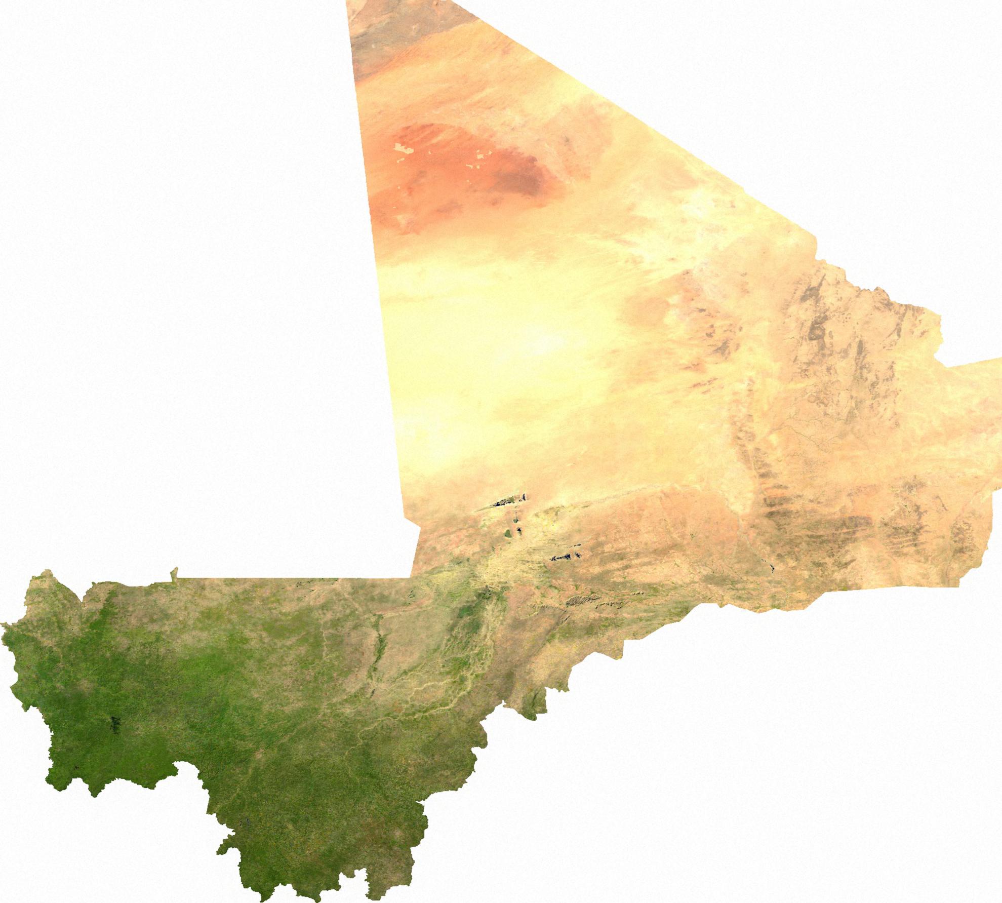 Satellite map of Mali Satellite map of