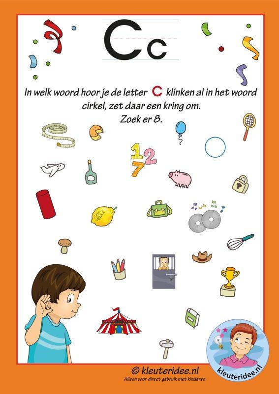 Pakket over de letter c blad 8, in welk woord hoor je een c, letters aanbieden aan kleuters, kleuteridee.nl, free printable.