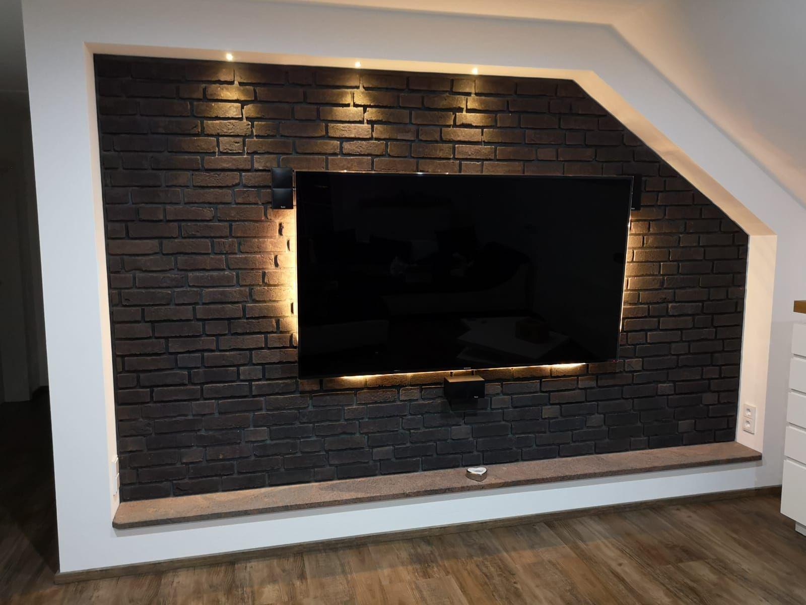 Klinkerriemchen Urban graphit  Steinwand wohnzimmer, Tv wand