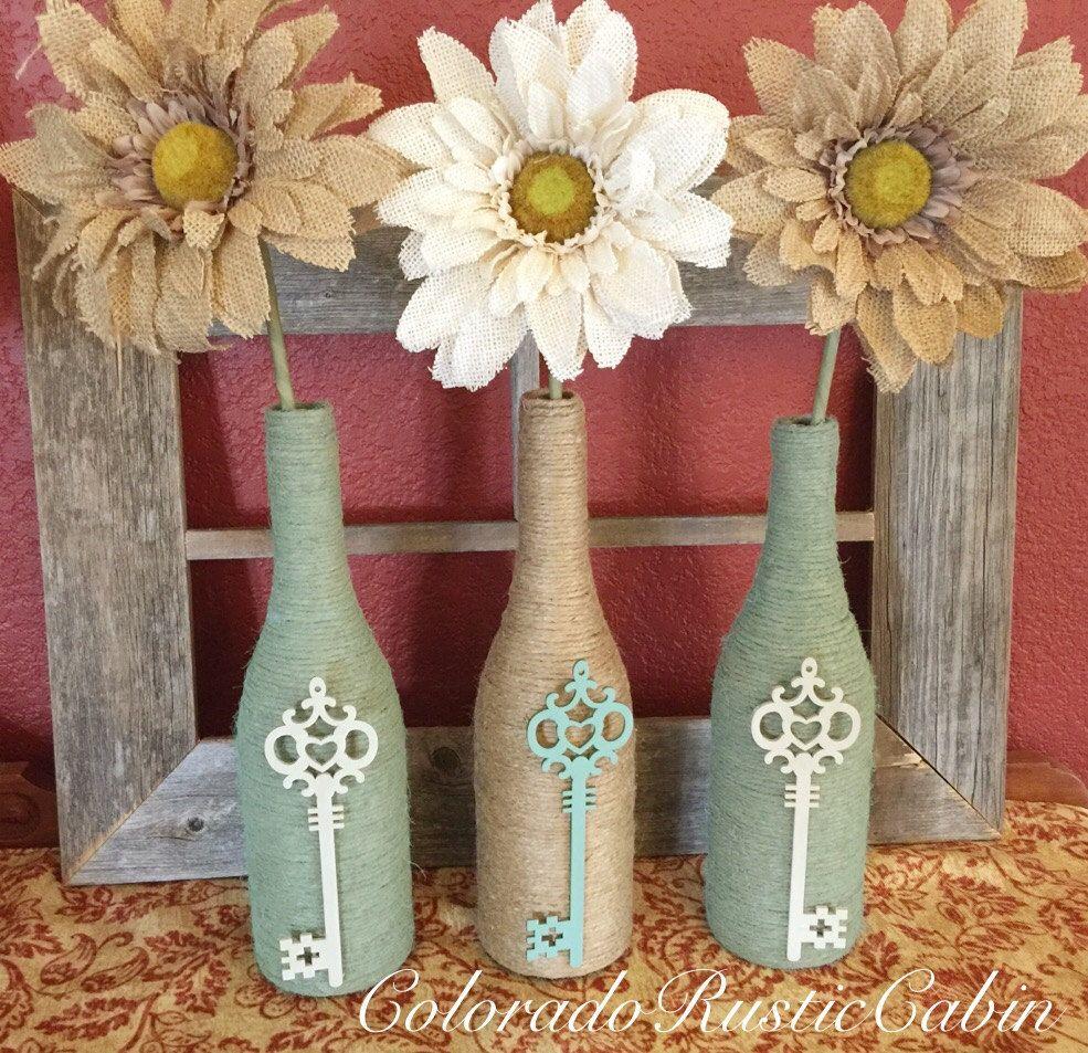 Twine Wrapped Wine Bottle Set Set Of 3 Burlap Sunflowers And Skeleton Keys Wrapped Wine Bottles Diy Bottle Crafts Empty Wine Bottle Crafts