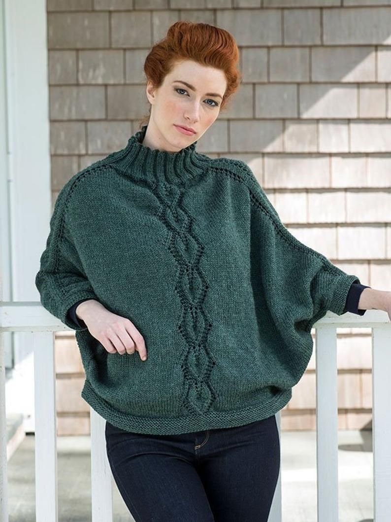 Poncho with sleeves for women cape wool alpaca cable ...