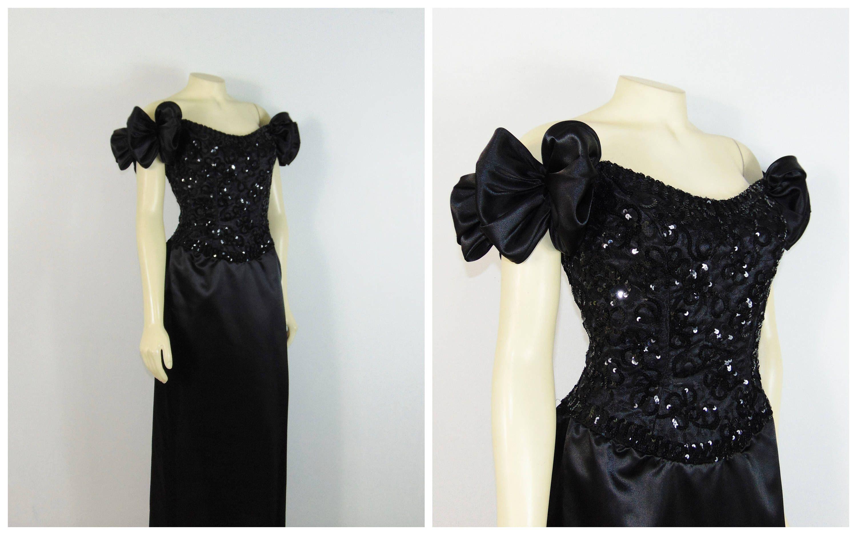 Vintage dress s mike benet s prom dress formal black sequin