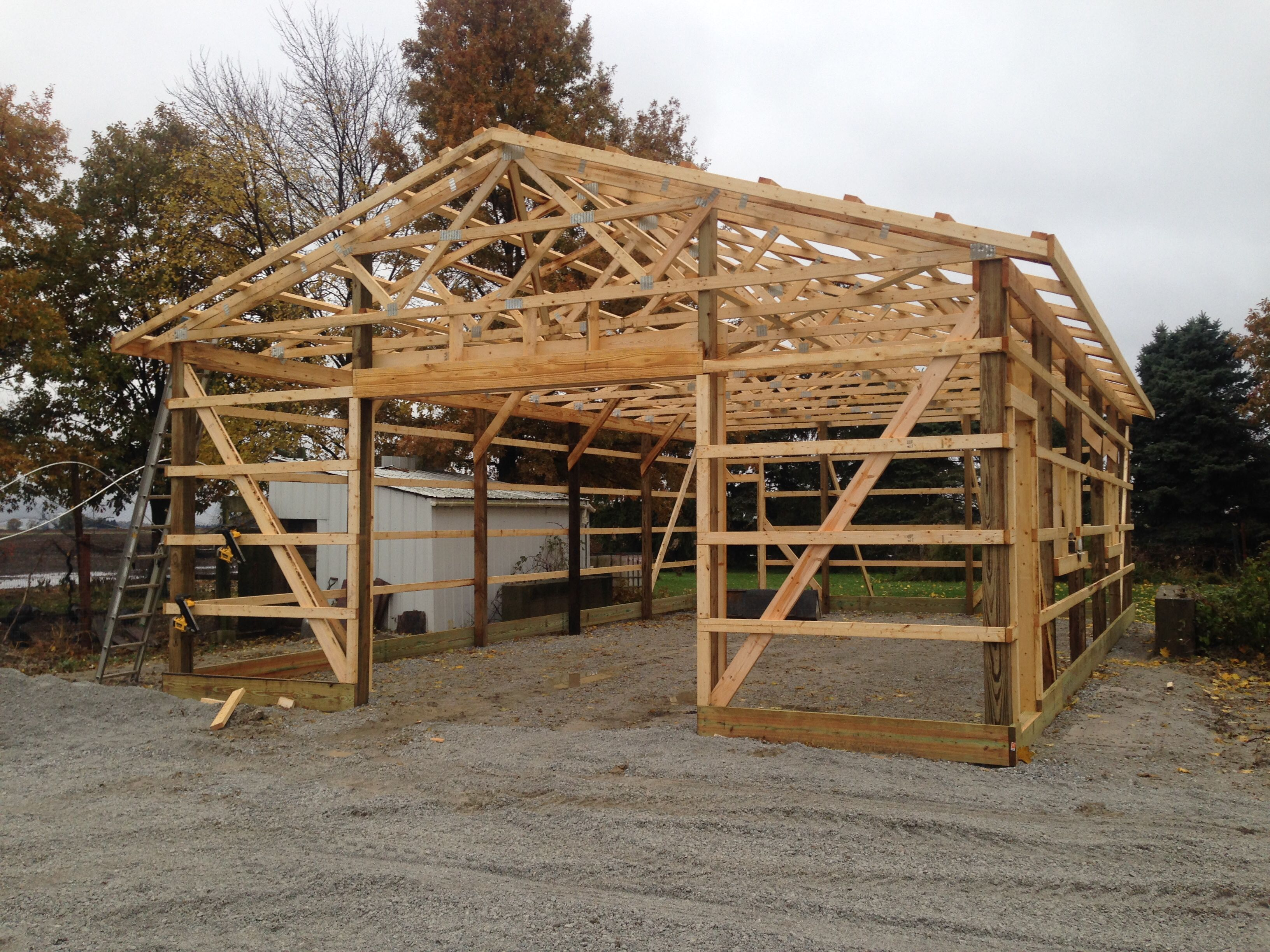 This 30x48 pole building is under construction near Wayne ...
