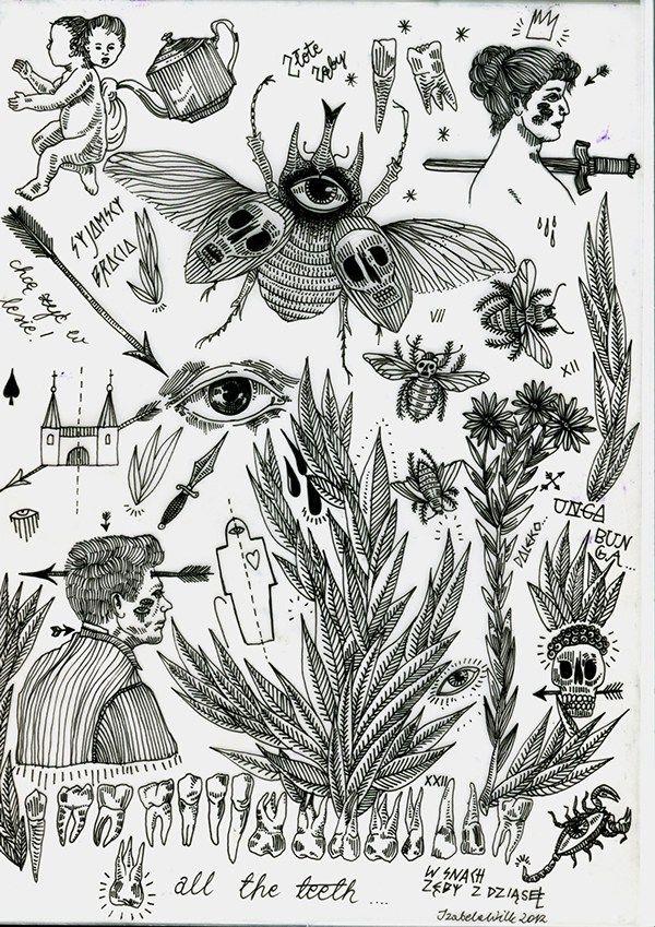 Flash Sheet Tattoo Designs On Behance Tattoo Flash Sheet Dark Tattoo Small Art Prints