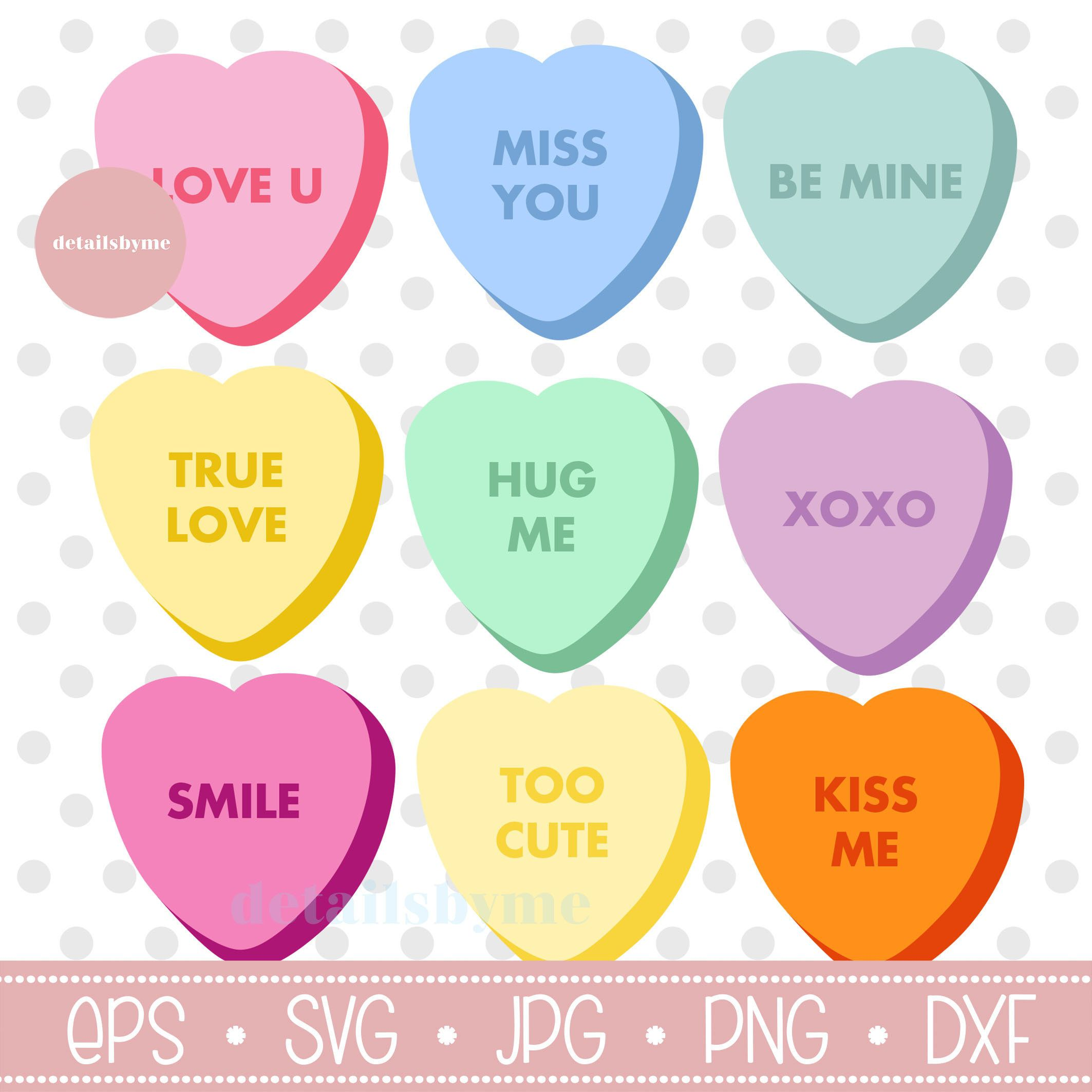 Conversation Hearts Svg Candy Hearts Svg Valentines Day Svg Etsy In 2021 Heart Candy Balloons Text Svg