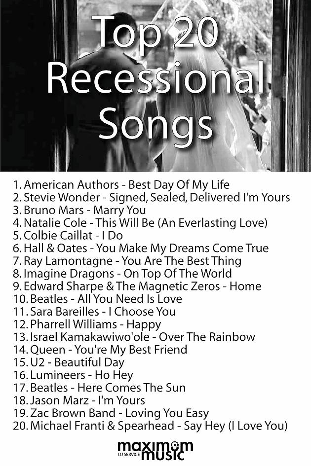 top 20 ceremony recessional songs maximum music. Black Bedroom Furniture Sets. Home Design Ideas