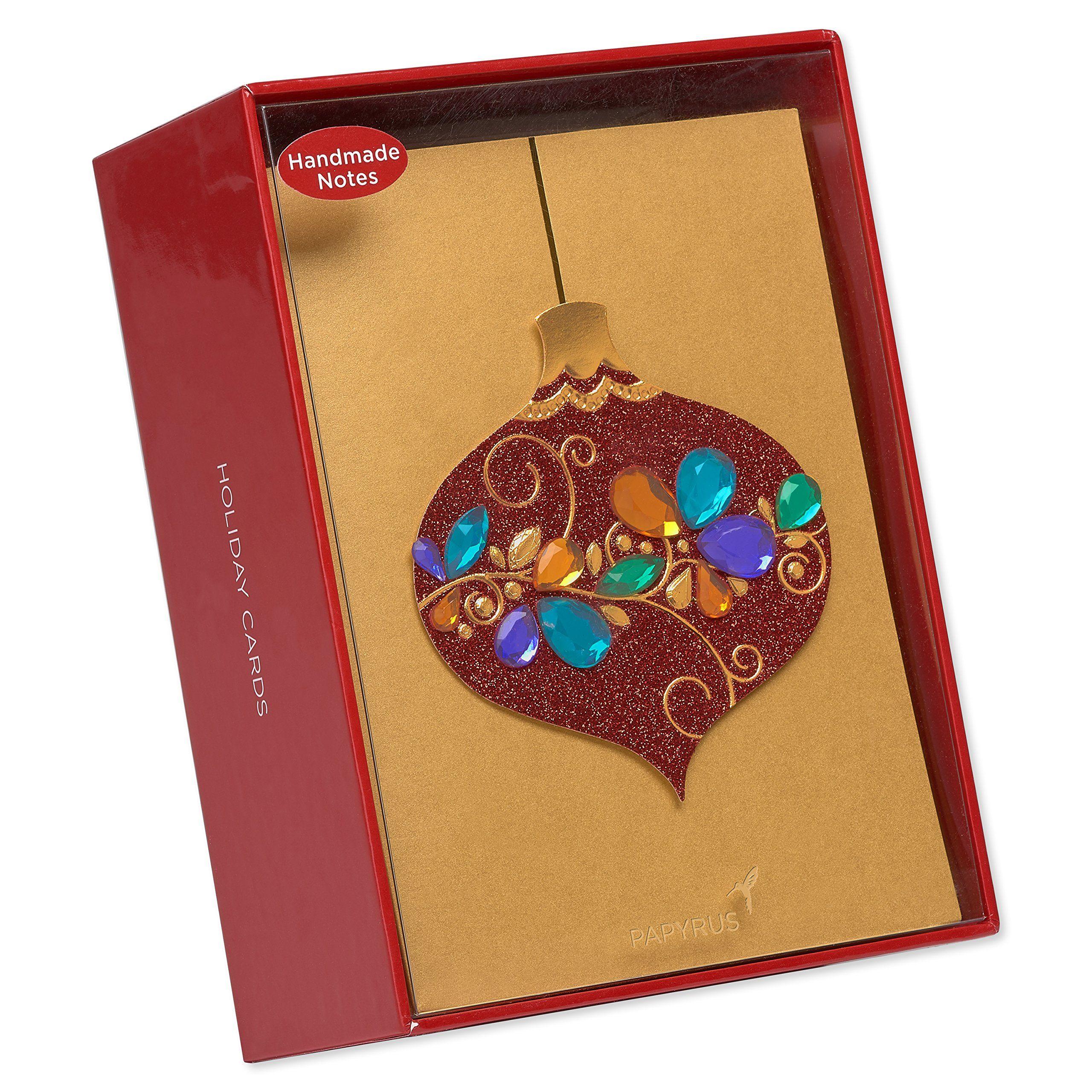 Papyrus Gem Ornament Christmas Cards Boxed with Gold
