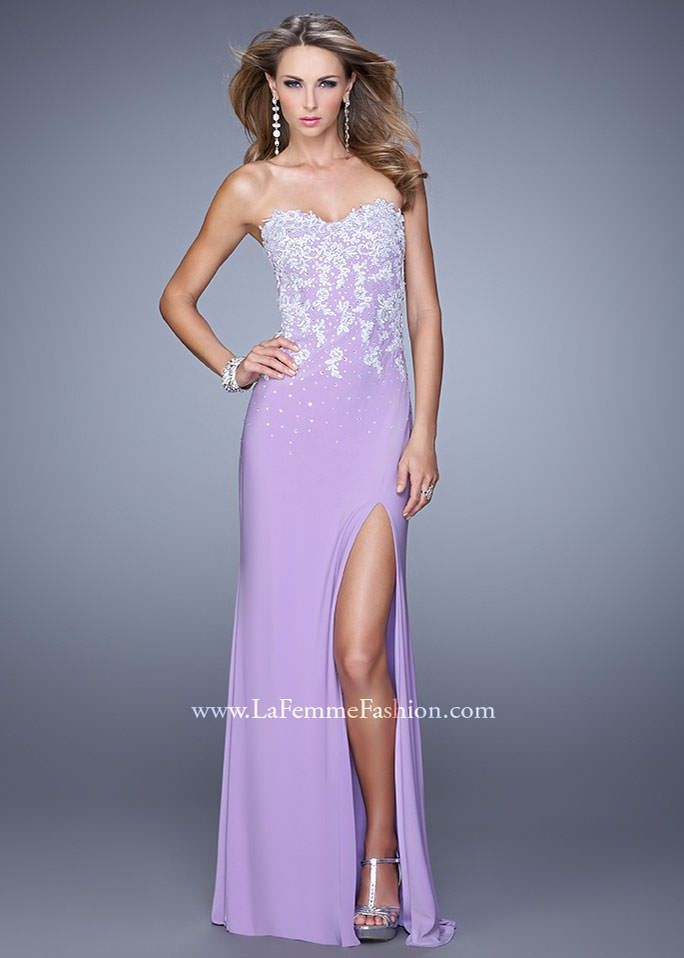 6c5b71918b6 La Femme 20923 Strapless Fitted Dress