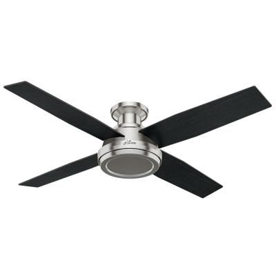 Hunter Dempsey 52 In Low Profile No Light Indoor Brushed Nickel Ceiling Fan With Remote Control 59247 Ceiling Fan With Light Flush Mount Ceiling Fan Led Ceiling Fan
