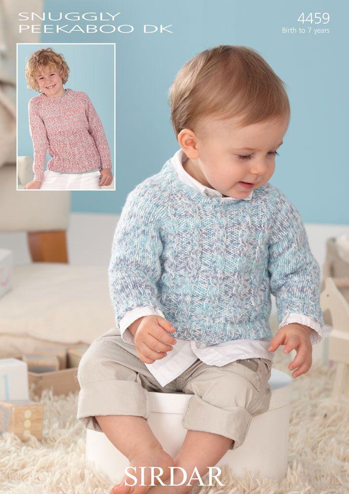 Sirdar Baby Knitting Pattern Snuggly Peekaboo DK Sweaters 4459