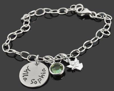 Kinder Schutzengel Armband mit Gravur von Name und Datum Silber 925 16-14 cm