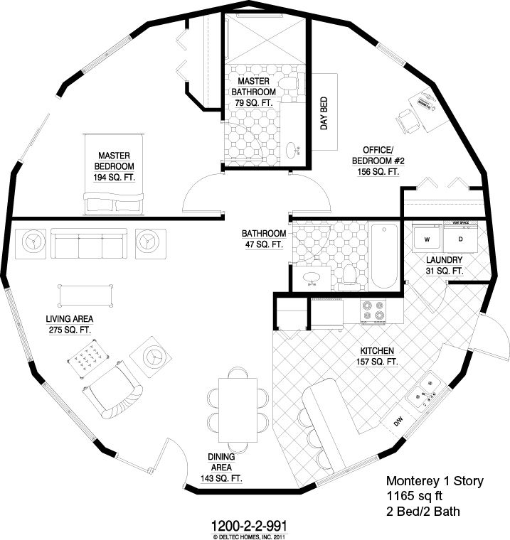 Deltec Homes Monterey 1 Story 1165 Sq Ft Round House Plans Custom Floor Plans Round House