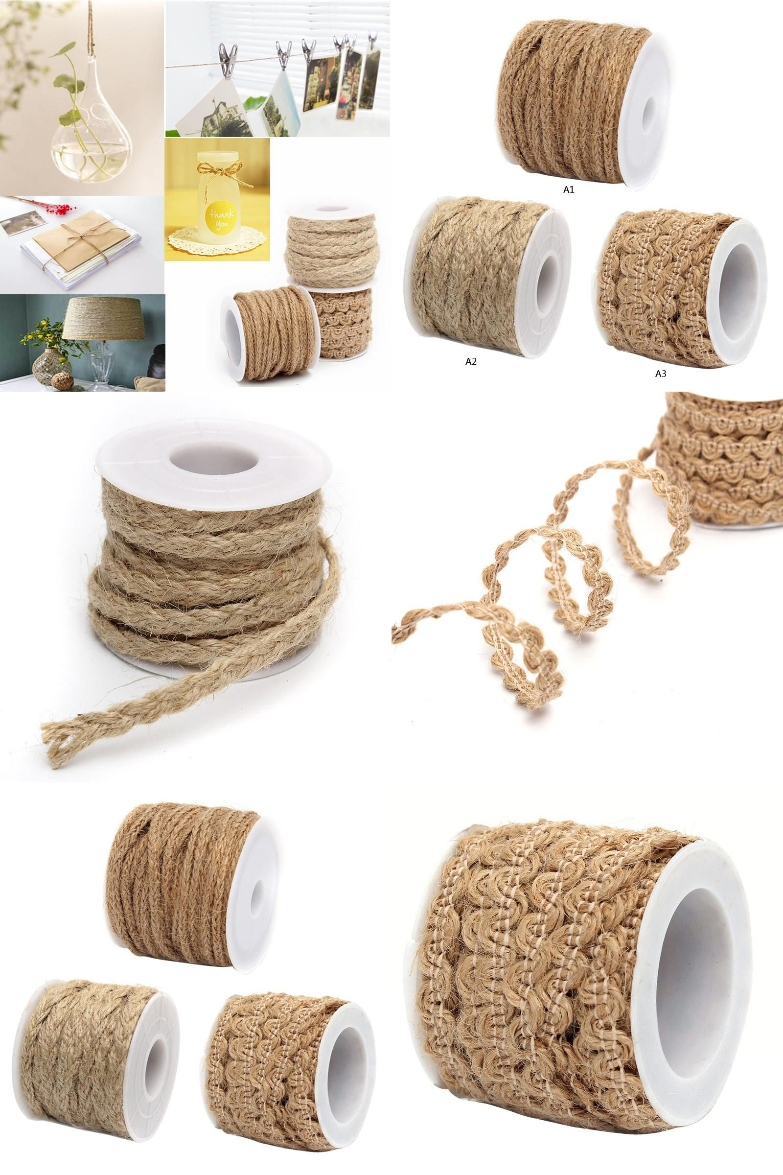 Banners, Streamers & Confetti 1 Roll 5m Natural Hessian Jute Twine Rope Burlap Ribbon Diy Craft Vintage Wedding Party Birthday Decor Festive & Party Supplies