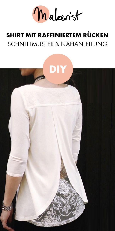 Damenshirt mit elegantem Rückenausschnitt – Nähanleitung und Schnittmuster via…