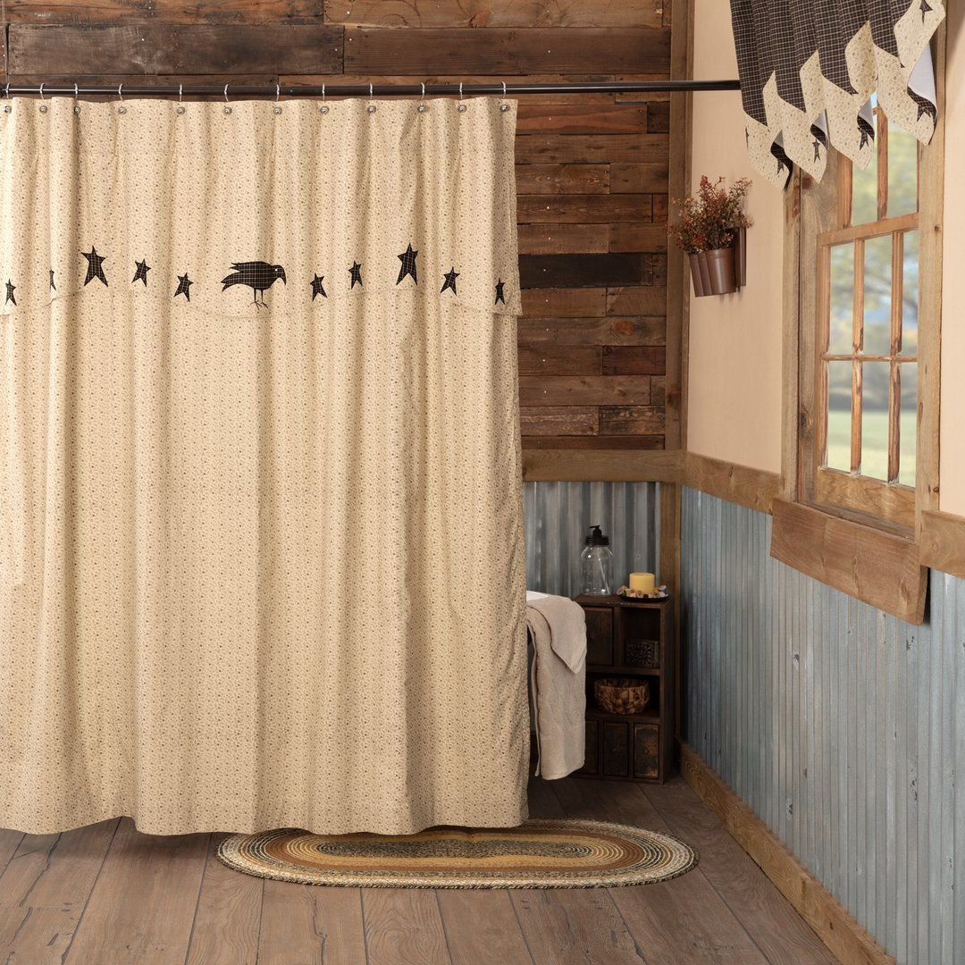 Kettle Grove Shower Curtain With Attached Applique Crow And Star Valance 72x72 Primitive Bathrooms Primitive Shower Curtains Primitive Decorating