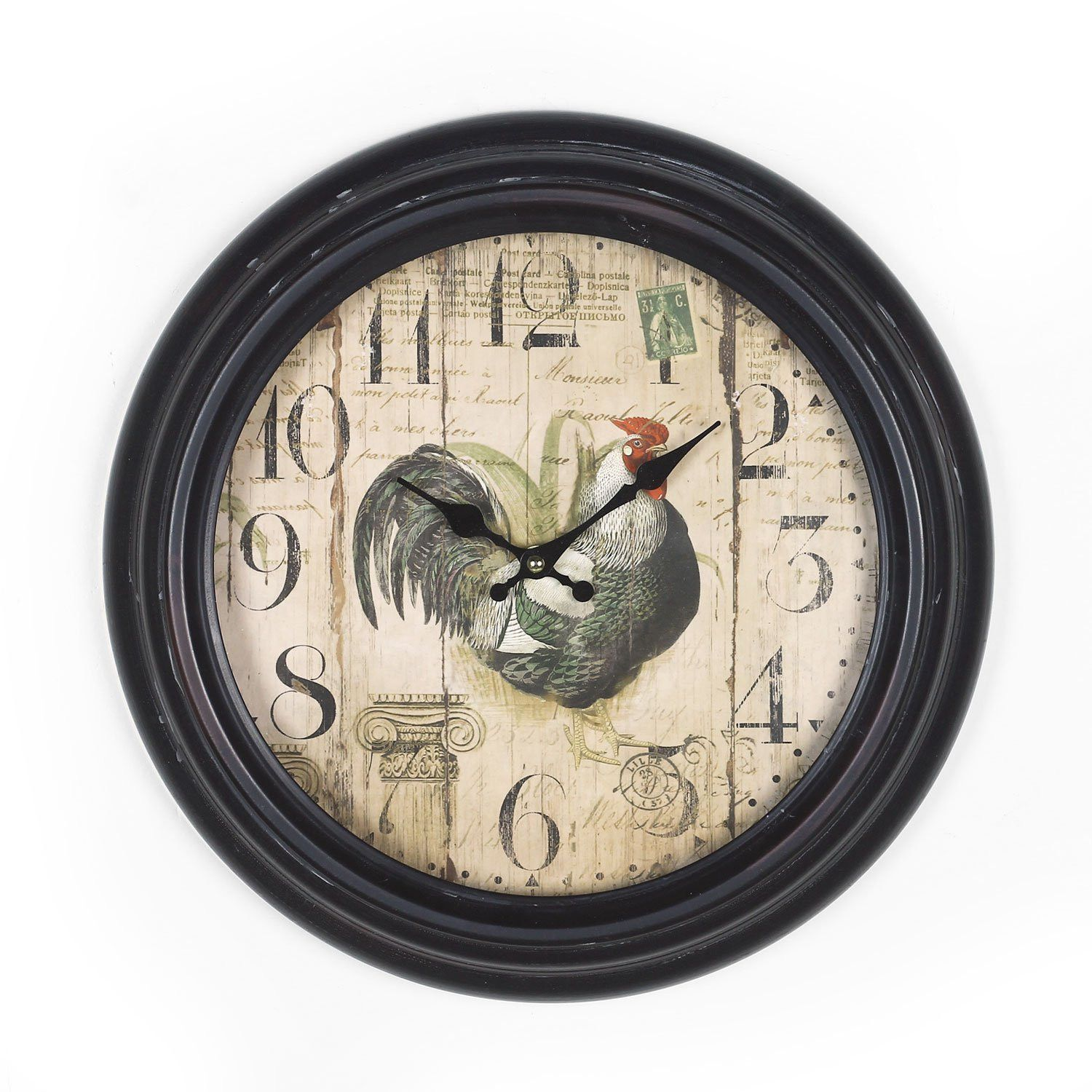 black and brown antique look dial rooster clock rooster