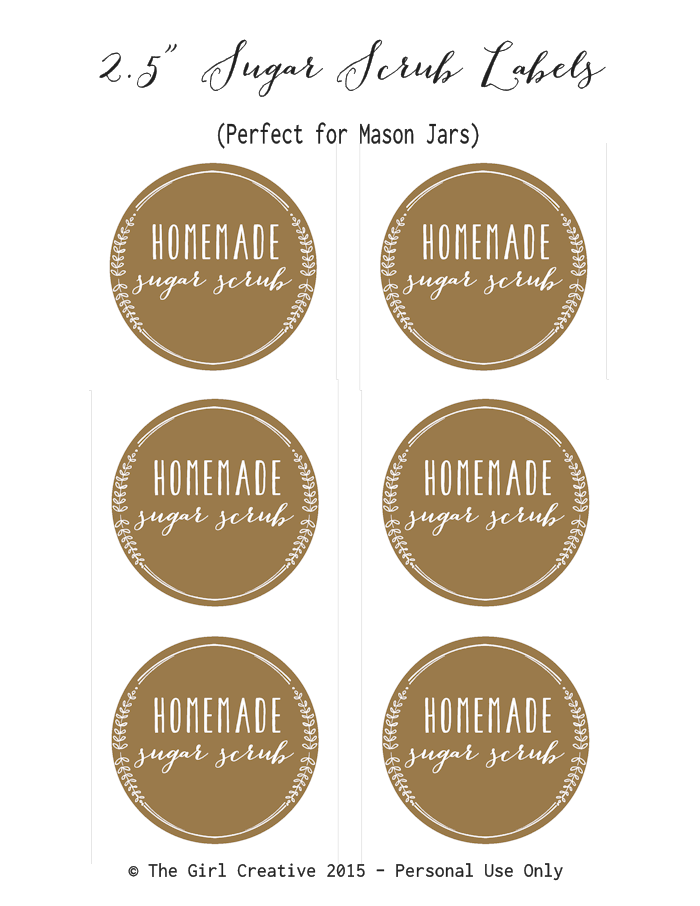 photograph regarding Printable Sugar Scrub Labels called Totally free Sugar Scrub Labels - The Woman Imaginative