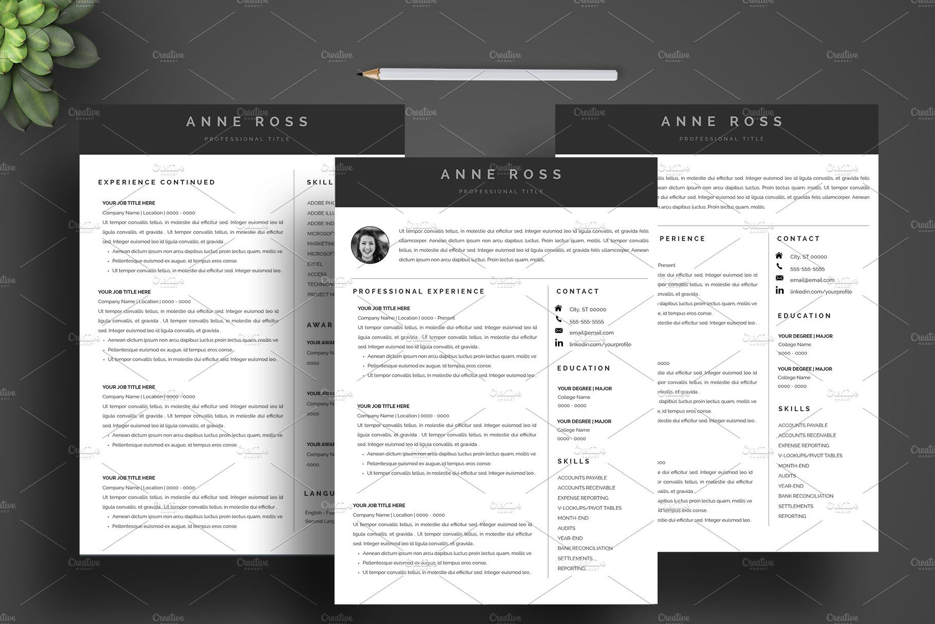Resume Cv Template Cover Letter By Top Level Resumes On Creativemarket Graphicdesign Art Design Illustra Cv Template Resume Cv Cover Letter For Resume