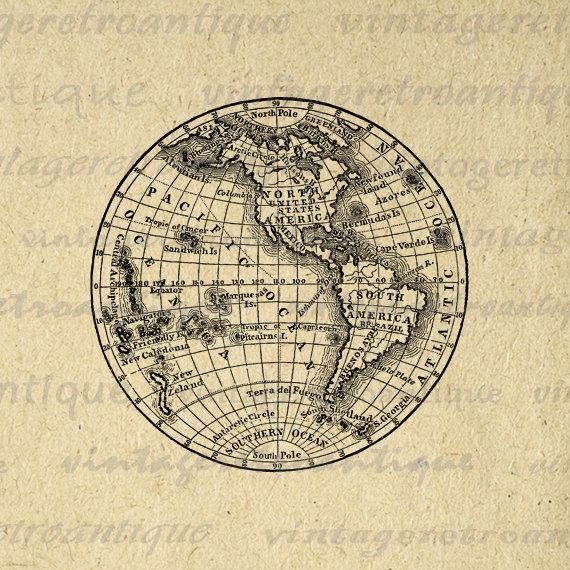Digital Printable Antique Earth Globe Map Graphic Western Hemisphere Image Download. Vintage printable image clip art from retro artwork for making prints, transfers, tea towels, t-shirts, pillows, papercrafts, and other great uses. This digital graphic is high quality, large at 8½ x 11 inches. Transparent background version included with every graphic.