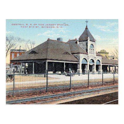 Bayonne New Jersey Train Station Vintage Postcard - postcard post card postcards unique diy cyo customize personalize