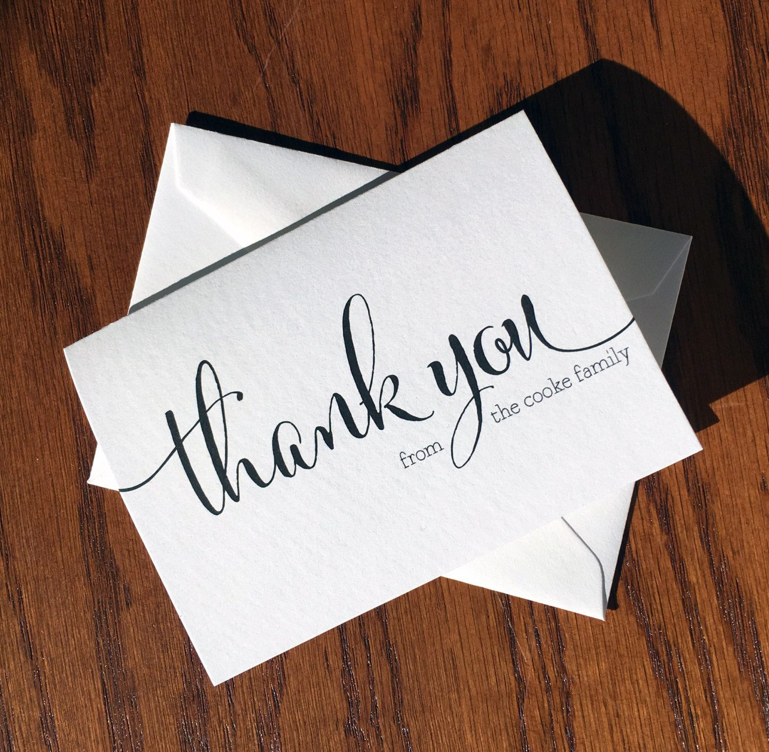 personalized family thank you card pack with large script