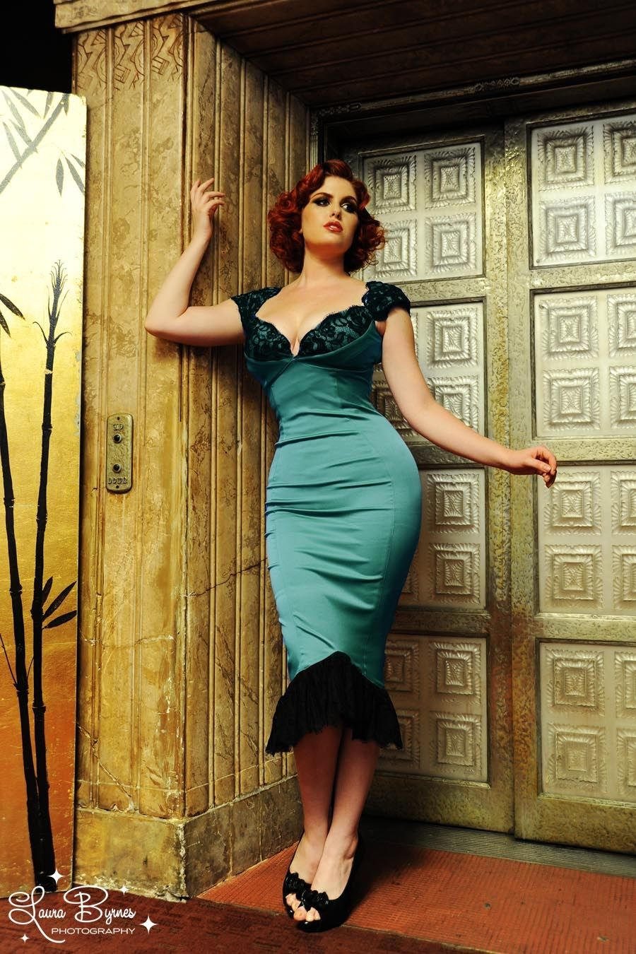 Isabelle Dress in Porcelain Turquoise Satin with Black ...