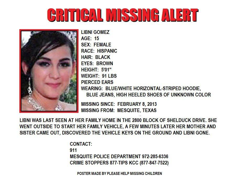 Libni Gomez ~ Mesquite, Texas Missing Children Pinterest - missing flyer template