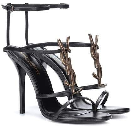 82a36471f67 Saint Laurent Cassandra 110 leather sandals in black and gold | available  down to a size 4 for small petite | designer fashion for petite women |  stiletto ...