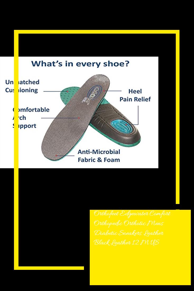 4af6f7d4e Orthofeet Edgewater Comfort Orthopedic Orthotic Mens Diabetic Sneakers  Leather Black Leather 12 M US #sale