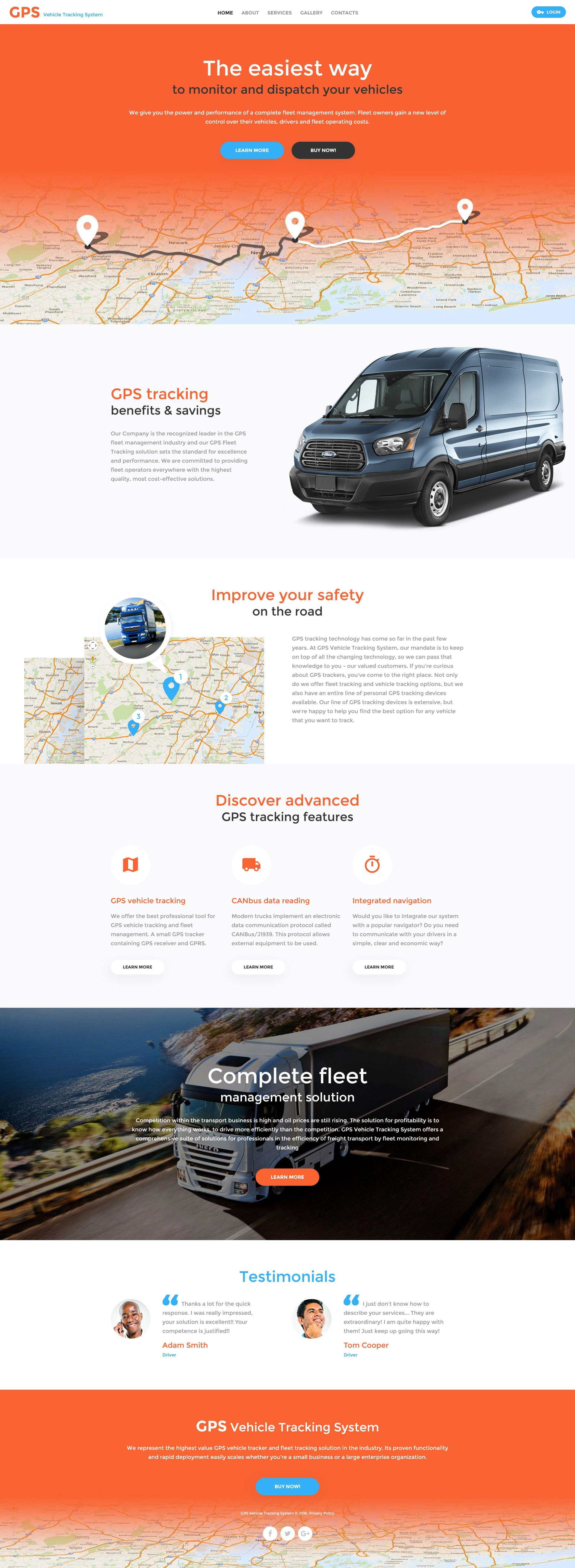 GPS Vehicle Tracking System Website Template | Template, Website and ...