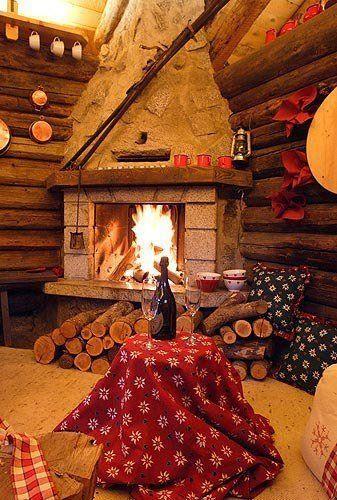 Winter Romantic Trip Cozy Cabin Cozy House Fireplace
