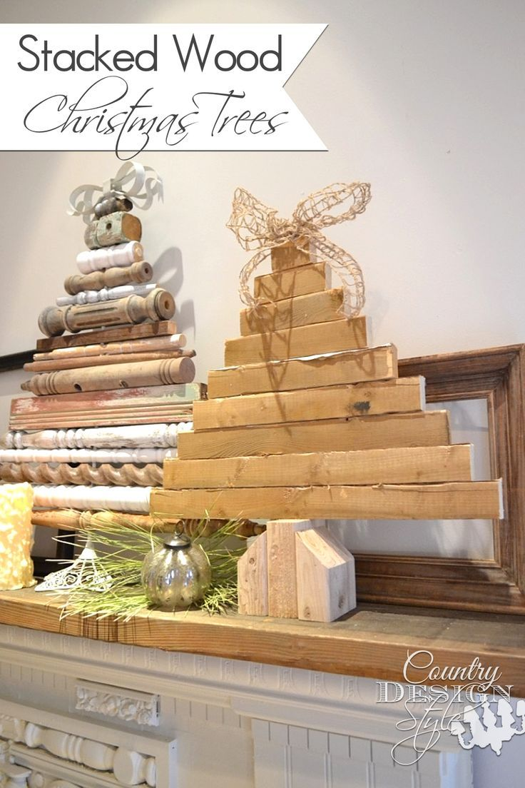 Using scrap wood pieces and spindles to make planked wood christmas trees with burlap and metal bows. | http://countrydesignstyle.com