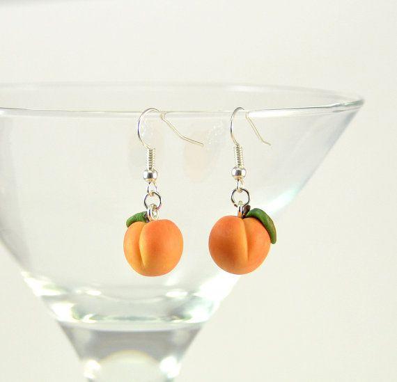 Peach earrings - Fruit earrings - Polymer clay jewelry - Handmade small fruit  earrings