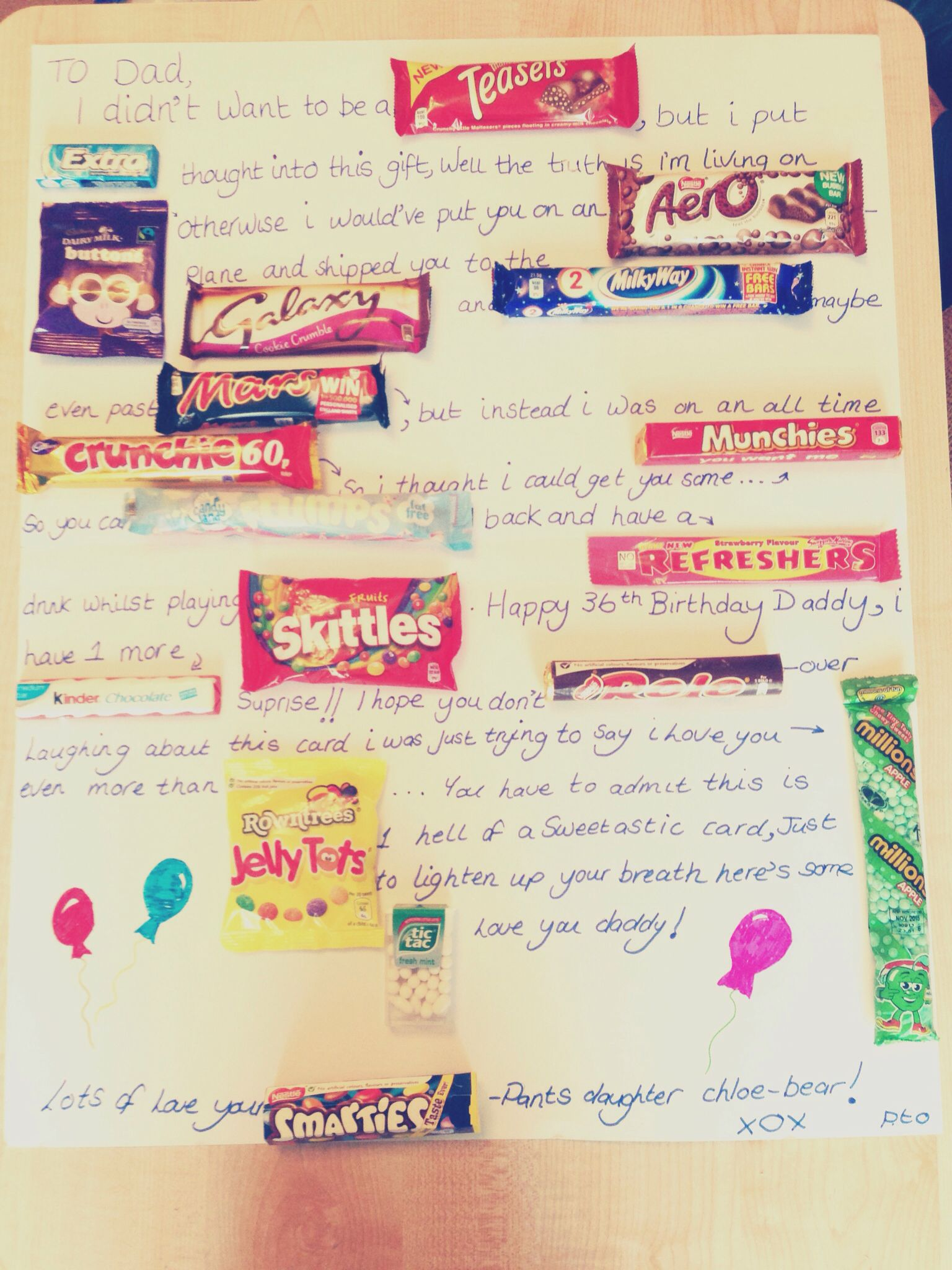 Uk sweets card for dad birthday t or even Father s Day I