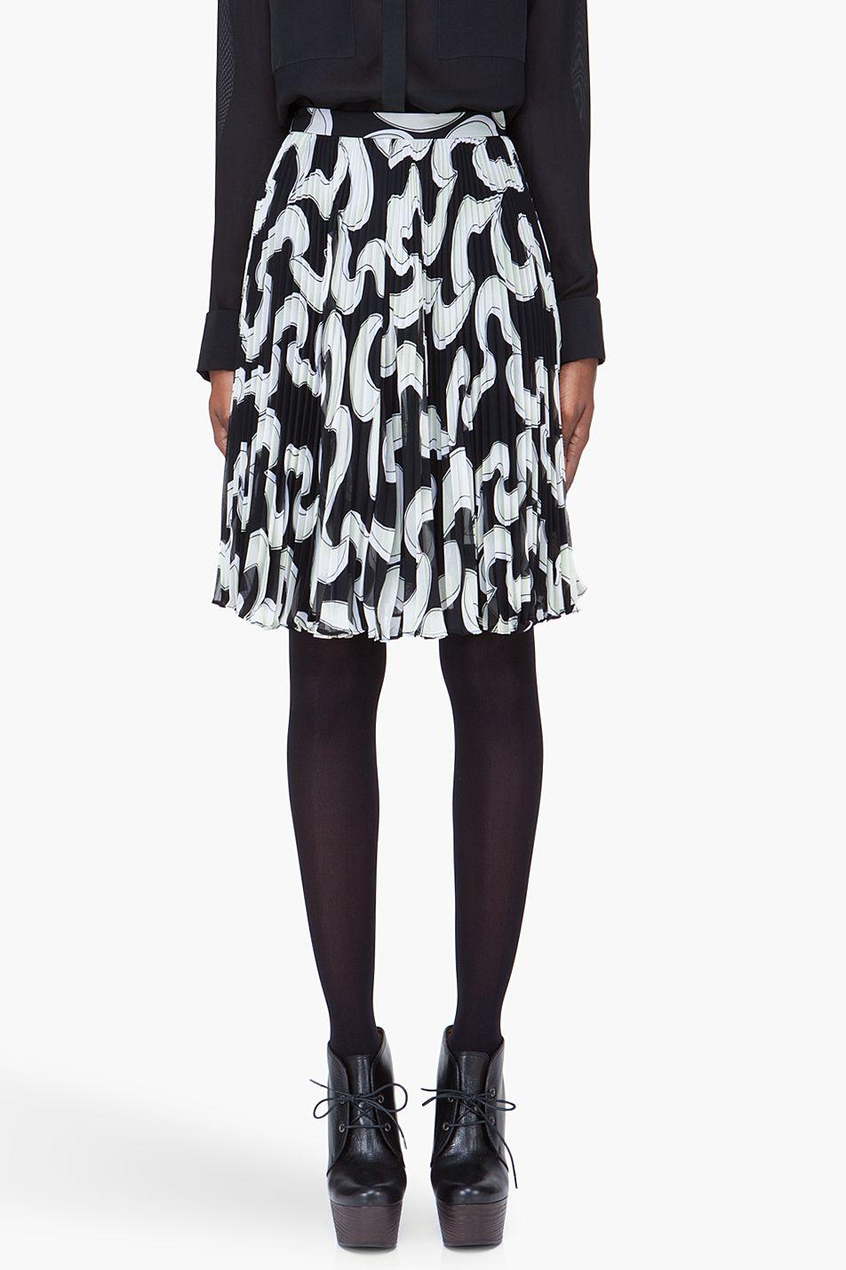 DIANE VON FURSTENBERG Grey Printed Pleated Trina Skirt
