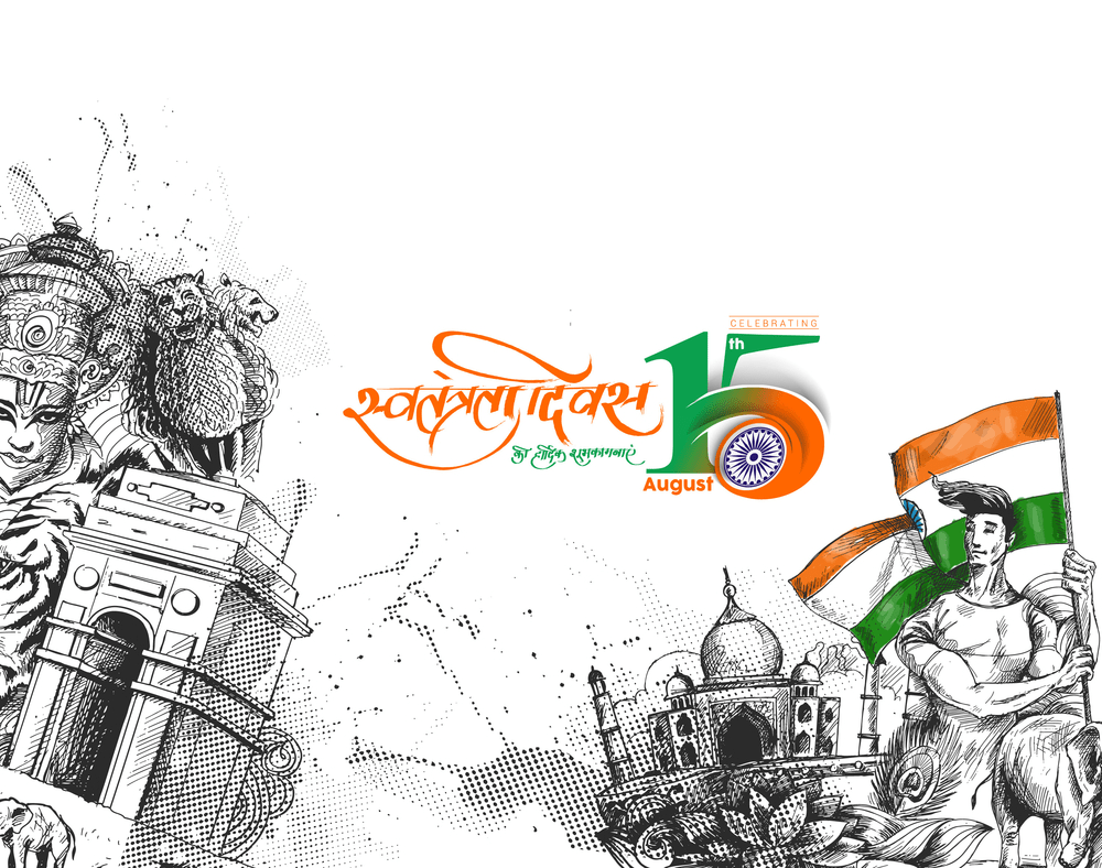 Indian Independence Day Concept Hand Drawn Sketch Vector Illustration Indian Independence Day Happy Independence Day India India Independence