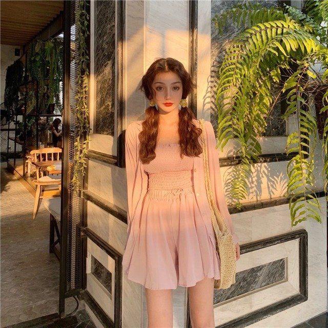 Season New Very Fairy Bottoming Vest + Chiffon Shorts Skirt + Sunscreen Shirt Goddess Fan Cardigan Three-piece #chiffonshorts