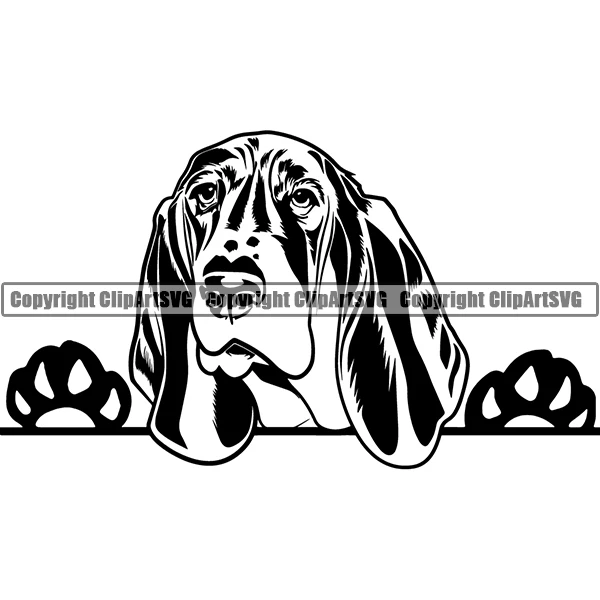 Pin by Mima on Dog Peeking ClipArt SVG Black & White