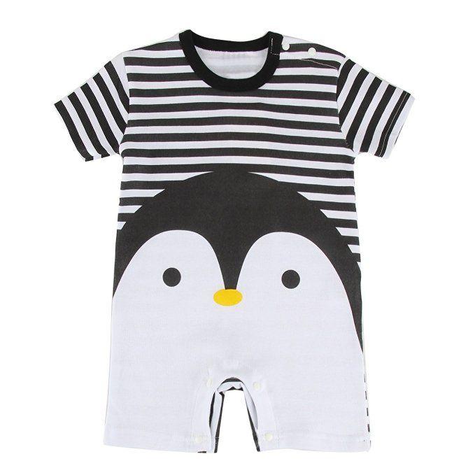 9cb55ca11 Puseky Baby Kids Cute Penguin Stripe Rompers Jumpsuit Bodysuit ...