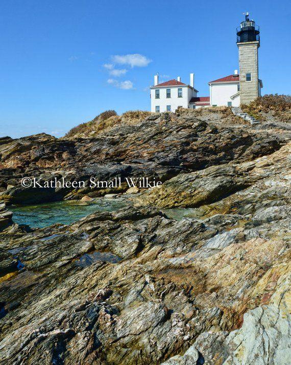 Beavertail Light in RI,nautical art,beacon,New England